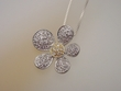 Sterling Silver Pave Flower Necklace