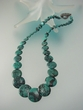 Modern Green Turquoise  Graduated  Coin  Sterling  Necklace