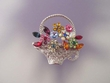 Multi Color  Flower Basket Brooch