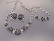 Blue Rhinestone Necklace &  Earrimgs & Bracelet Set