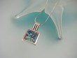 Multi-Stone Square Sterling Silver Pendant Necklace