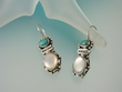 Mother of Pearl and Turquoise  Sterling  Silver  Drop  Earrings