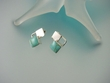 Modern Turquoise Square Sterling Earrings