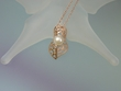 Freshwater Pearl  &  Pink 14K Gold Vermeil Pendant Necklace