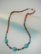 Blue Turquoise & Picasso Jasper Sterling Silver Beaded Necklace
