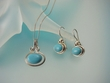Blue Turquoise Sterling Silver Necklace and Earrings