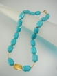Modern Blue Turquoise and Vermeil Beaded Necklace