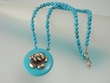Blue Turquoise & Sterling Silver Flower Pendant Beaded Necklace