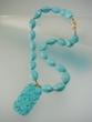 Blue  Carved Turquoise  &  Vermeil  Pendant  Beaded Necklace