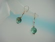 Green Turquoise Sterling Silver Drop Earrings