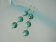 Green Turquoise Sterling Silver Dangle Earrings