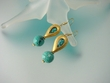 Unique Green Turquoise and Vermeil Dangle Earrings