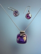 Dichroic Glass  Sterling  Silver  Necklace & Earrings Set
