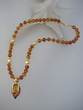 Artistic Baltic Amber Beaded Drop Necklace & Vermeil