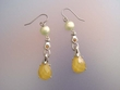 Canary Yellow  Stone & Freshwater Pearl Earrings