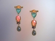 Exotic Dangle Multicolor Stones & Swarovski Earrings