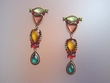Exotic Dangle Multicolor Stones & Searovski Earrings