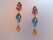 Exotic Stone & Swarovski  Crystal Dangle Earrings