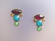 Multi-coloured Faceted Stone Earrings & Swarovski crystal