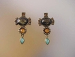 Exotic Multicolor Stone  & Swarovski Crystal Drop Earrings