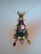 Dichroic Glass  & Gemstones  Sterling Silver Pendant Necklace