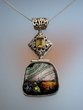 Dichroic Glass & Citrine Sterling  Silver Pendant Necklace