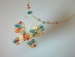 Artistic Turquoise / Coral / Freshwater Pearl Pendant  Necklace