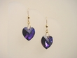 Purple Swarovski Crystal Heart Drop Earrings