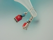Turquoise & Coral Dangle Sterling Earrings