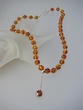 Modern Baltic Amber Round Beads Necklace & Sterling Silver