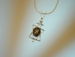 Green Baltic Amber Star of David Sterling Silver Necklace