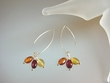 Multi-coloured  Baltic Amber Dangle Sterling Earrings