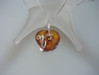 Romantic Baltic Amber Heart  & Sterling Silver Pendant Necklace