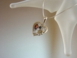 Multicolor Baltic  Amber & Sterling Silver Heart Pendant Necklace