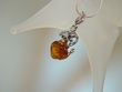 Baltic Amber  Rose & Sterling  Silver  Pendant  Necklace