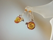 Baltic  Amber  Roses & Sterling Silver  Dangle Earrings
