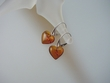 Honey Baltic Amber Hearts & Sterling Silver Earrings
