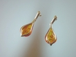 Modern Baltic Amber Sterling Silver Dangle Earrings