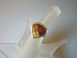 Inlaid Multicolor  Amber Sterling Silver Ring