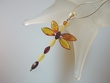 Dragonfly Multicolor Baltic  Amber Sterling  Pendant Necklace