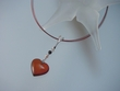 Cherry Baltic Amber Heart & Freshwater Pearl Pendant Necklace