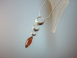 Modern Baltic Amber  Sterling Silver Pendant Necklace
