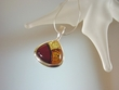 Inlaid Multicolor Baltic Amber & Sterling Silver  Pendant Necklace