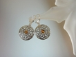 Honey Baltic Amber Sterling Silver Disc  Earrings