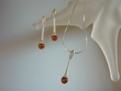 Modern Baltic Amber Sterling Silver  Necklace Set