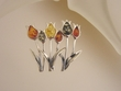 Tulips Multicolor Baltic Amber Sterling Silver Brooch