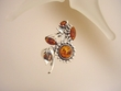Sunflower Baltic Amber Sterling Silver PIN/PENDANT Necklace