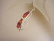 Honey Baltic Amber and Sterling Silver Viola Pin