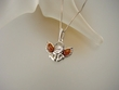 Baltic Amber Sterling Silver Angel Pendant  Necklace