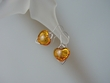 Honey Baltic Amber Heart  & Sterling Silver Earrings